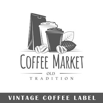 흰색 배경에 고립 된 커피 레이블