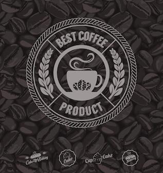 커피 레이블 및 커피 콩 배경