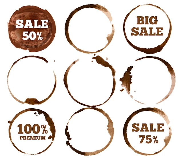 Coffee labels. watercolor dirty ring stain logo.  illustration set