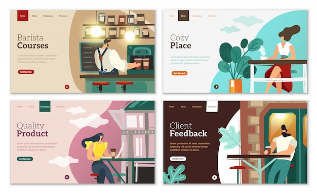 Coffee landing pages set.