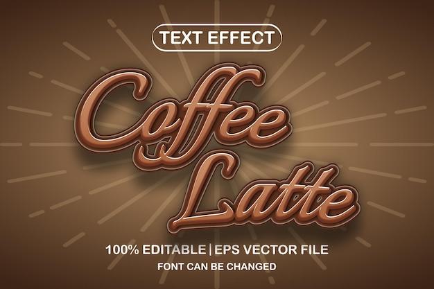 커피 라떼 3d 편집 가능한 텍스트 효과