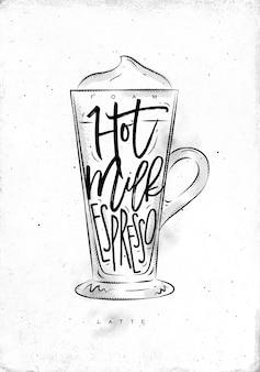 Кофе латте чашка надписи пена, горячее молоко, эспрессо в винтажном графическом стиле, рисунок на фоне грязной бумаги
