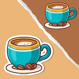 豆の漫画、ステッカーのデザインとコーヒーの葉の泡。