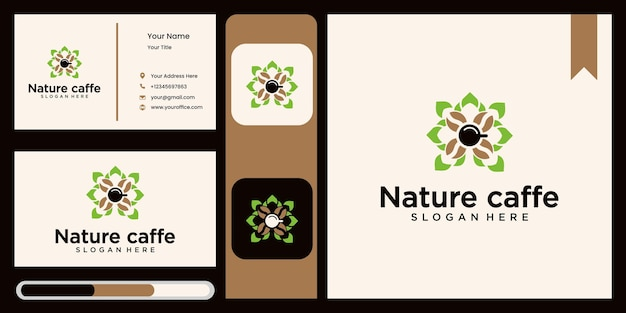 Coffee leaf logo nature logo design template abstract green leaf symbol for coffee shop in nature