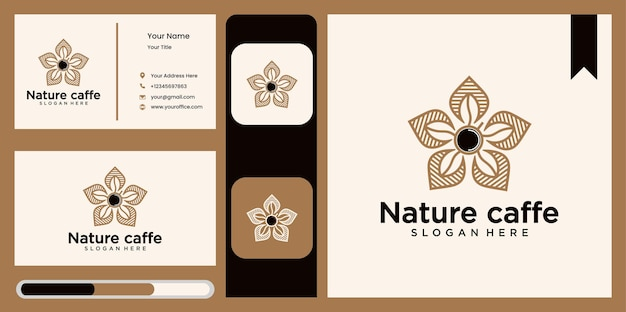 Coffee leaf logo vector set, nature logo logo design template abstract green leaf symbol for coffee shop in nature style, natural and organic coffee packaging with natural