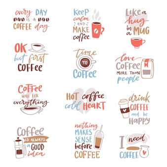 Coffee lettering  coffeecup quote phrase hot drink mug inspiration coffeetime calligraphy style typography illustration  on white background