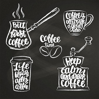 Coffee lettering in cup, grinder, pot chalk shapes.