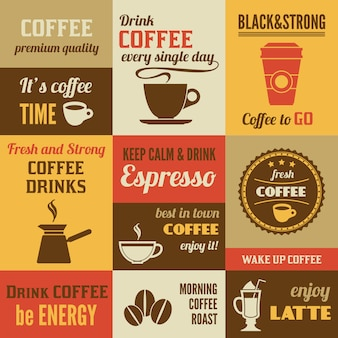 Coffee lettering design set