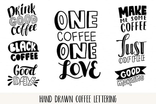 コーヒーレタリングセット。動機付けの引用。インスピレーションを与えるタイポグラフィ。