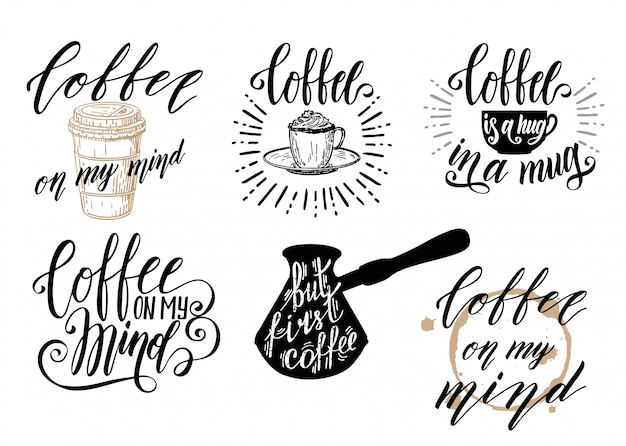 Coffee lettering set. set of coffee quotes