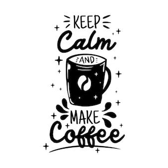 커피 레터링 타이포그래피 포스터 동기 부여 따옴표 그림