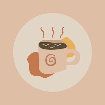 コーヒーライフスタイルアイコンステッカー、instagramのハイライトカバー、アースカラーのデザインベクトルの落書きイラスト