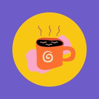 コーヒーライフスタイルアイコンステッカー、instagramのハイライトカバー、カラフルなデザインのベクトルでレトロな落書き