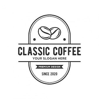 楕円形のバッジとコーヒーのロゴのコンセプト