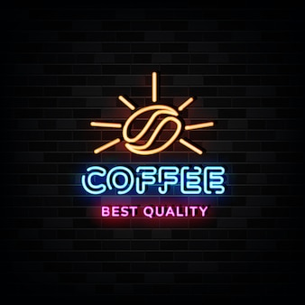 Coffee logo  neon signs   neon design style
