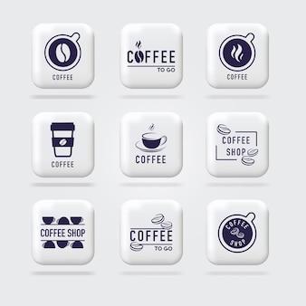 コーヒーのロゴセット穀物の画像とコーヒーカップの上面図3dロゴサインボリュームsignwebバナー