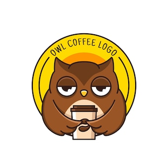 Coffee logo with cute owl isolated on white