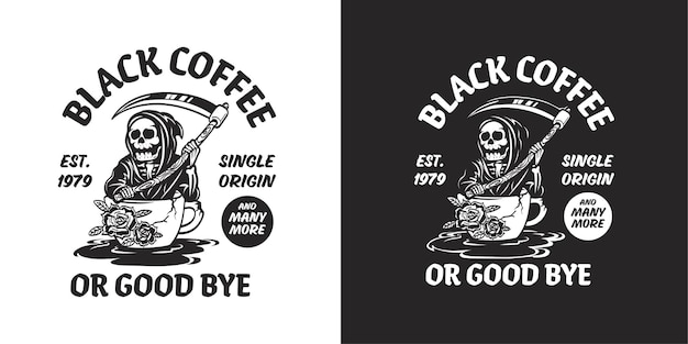 Coffee logo with grim reaper illustration