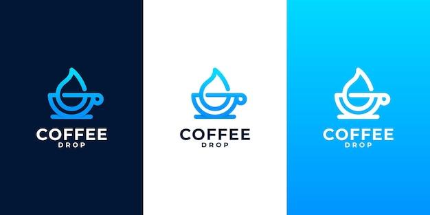 물방울 기호가 결합된 커피 로고