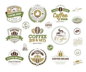 コーヒーロゴバッジとラベル要素