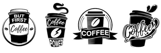 Значки логотипов кофе в различных дизайнах, изолированные на белом