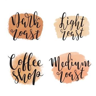 Coffee logotypes, kinds of roast