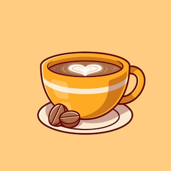 Кофе пены любви с фасолью мультфильм значок иллюстрации.