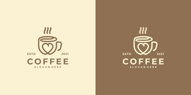 Логотип любителя кофе в стиле арт-линии