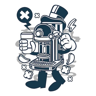 Coffee machine cartoon character