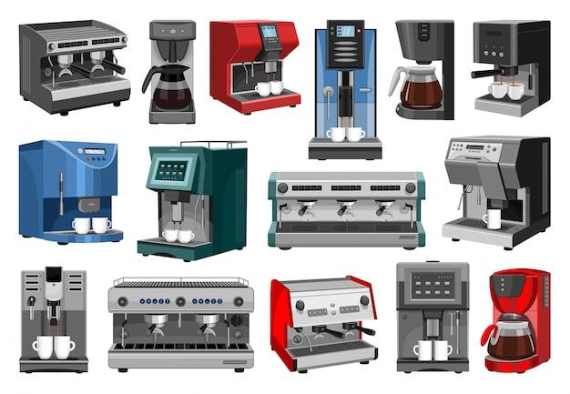 커피 기계 만화 아이콘을 설정합니다. 격리 된 만화 아이콘 메이커 에스프레소를 설정합니다. 그림 흰색 배경에 커피 기계입니다.