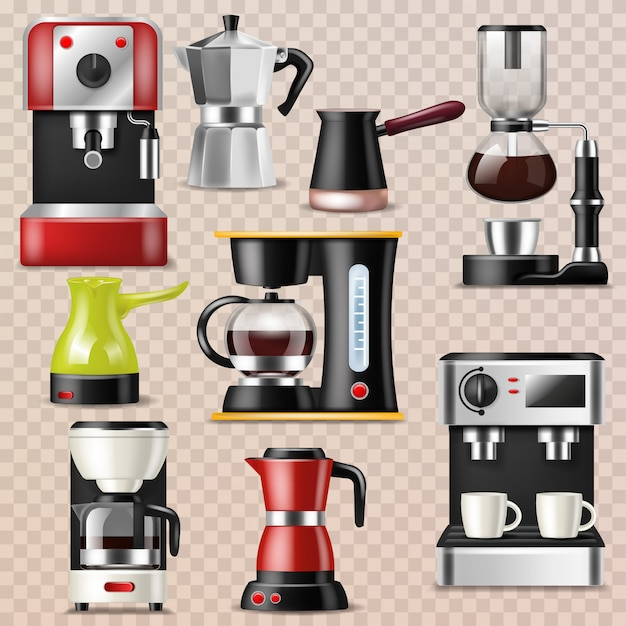 Coffee machine coffeemaker and coffee-machine for espresso drink with caffeine in cafe illustration set of professional equipment making cappuccino beverage isolated on transparent background