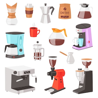Coffee machine  coffeemaker and coffee-machine for espresso drink with caffeine in cafe illustration set of professional equipment making cappuccino beverage isolated on white background