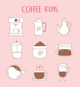 Coffee machine espresso cup french press teapot and cup icons in brown line illustration