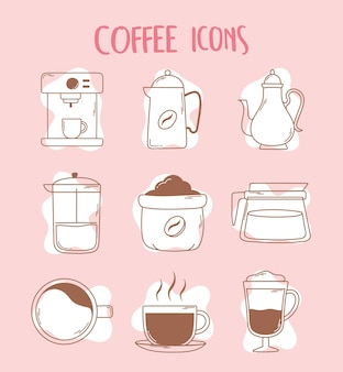 Coffee machine espresso cup french press teapot and cup icons line and fill