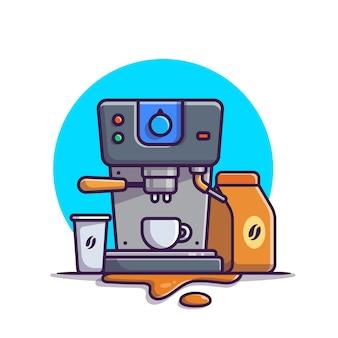Кофеварка эспрессо, кружки, чашка и кофе пакет мультфильм значок иллюстрации. кофе-машина значок концепции изолированы. плоский мультяшном стиле