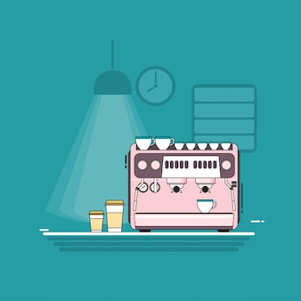 Coffee machine flat vector design.