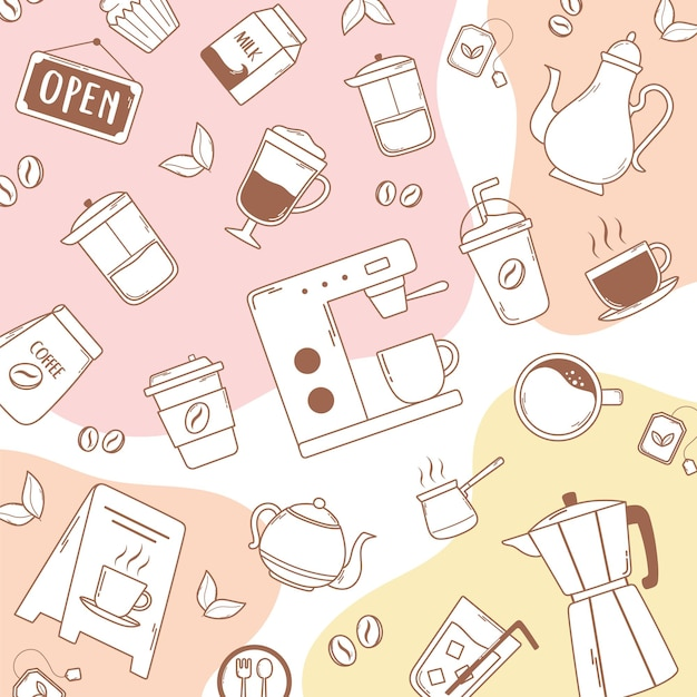 Coffee machine frappe latte moka pot kettle and beans pink illustration