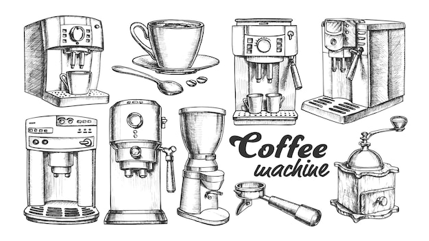 Coffee machine, holder and cup retro set