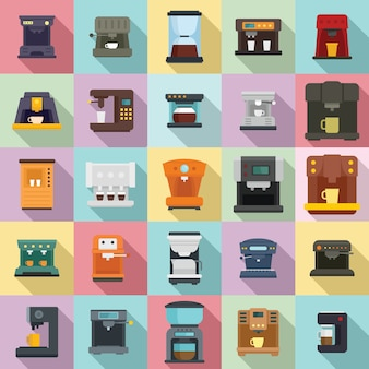 Coffee machine icons set, flat style