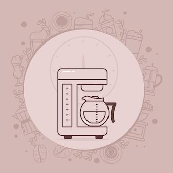 周りの関連アイコンとコーヒーマシンのイラスト