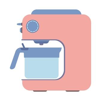 白い背景で隔離のコーヒーマシン。 2杯のコーヒーを淹れるエスプレッソ製造機。ベクトルイラスト。