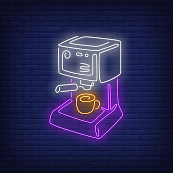 Coffee machine neon sign.