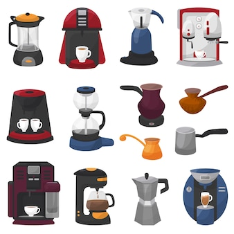Coffee machine vector coffeemaker and coffee-machine for espresso drink with caffeine in cafe set of professional equipment coffee-pot coffeecup