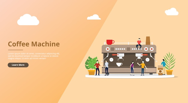 Coffee machine for website template with people