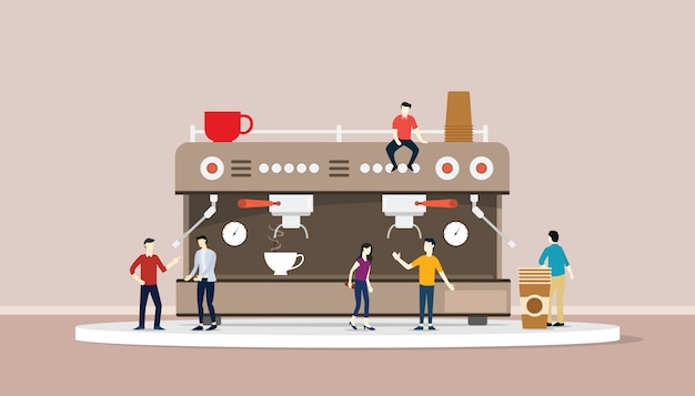 Coffee machine with people and cup of warm coffee