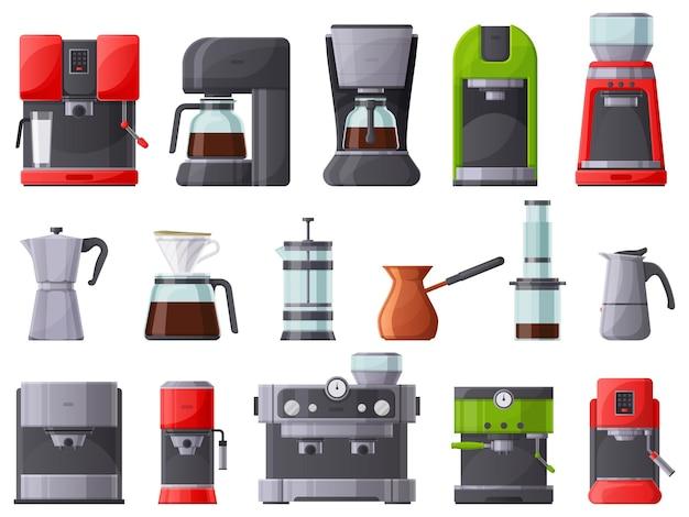 コーヒーマシン、コーヒーメーカー、エスプレッソマシン、コーヒーポット。フレンチプレス、レストランまたは家庭用コーヒーメーカーのベクトルイラストセット。朝食用コーヒーメーカーコレクション、フレンチプレス