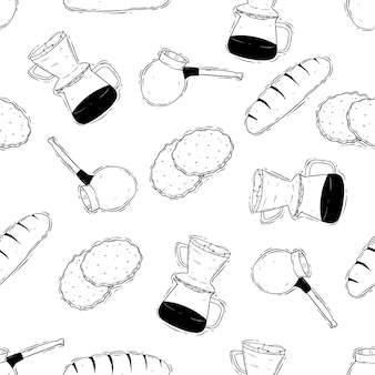 Coffee maker and bread seamless pattern with doodle or sketch style