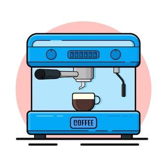 コーヒーメーカーフラットデザインイラスト。
