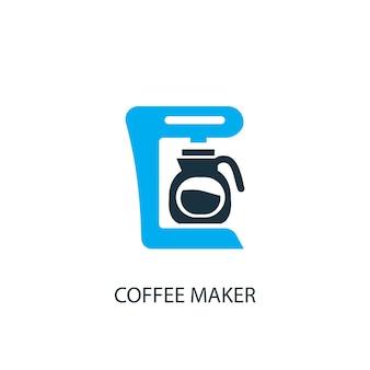 커피 메이커 아이콘입니다. 로고 요소 그림입니다. 2가지 컬러 컬렉션의 커피 메이커 심볼 디자인. 간단한 커피 메이커 개념입니다. 웹 및 모바일에서 사용할 수 있습니다.