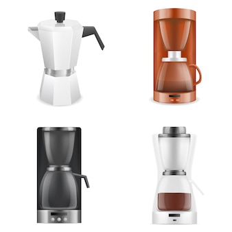Coffee maker icons set, realistic style
